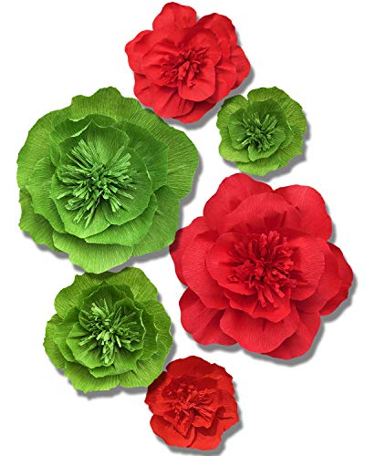 Letjolt Crepe Paper Flower Decorations Green Red Paper Flower for Wedding Mothers Day Supplies Easter Day Graduation Party Decorations Baby Shower Bridal Shower Boho Flower Nursery Wall Decor(Set 6)