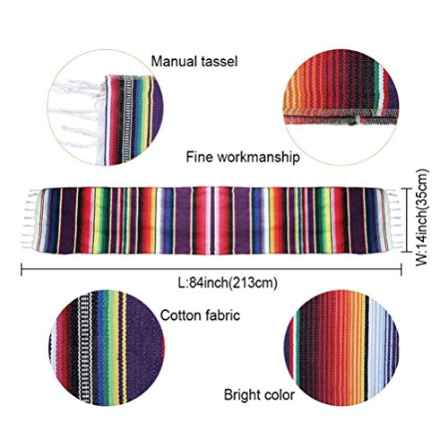 Koyal Pack of 6 14 x 84 inch Mexican Serape Table Runner for Mexican Party Wedding Decorations Fringe Cotton Table Runner by Koyal (Image #7)