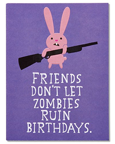 (American Greetings Funny Zombie and Bunny Birthday Greeting Card with Embossing)