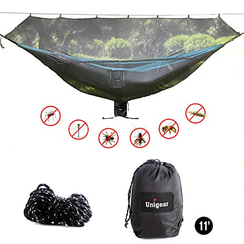 "Unigear 11' Hammock Bug Net Mosquito Net, No See Ums and Insects - Size 132"" x 55"" Fit for All Camping Hammocks. Breathable and Fast Setup (Black/Dark)"