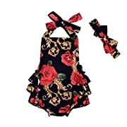 Leegor Toddler Newborn Baby Girls Flower Print Rompers Jumpsuit +Headband Outfits SE