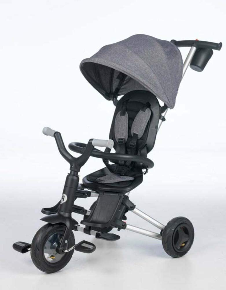 QPLAY - Triciclo Bebe Nova Gris - Evolutivo - Plegable - Arnés de Seguridad - Ideal para niños de 10 a 36 Meses (máximo 25 Kg)