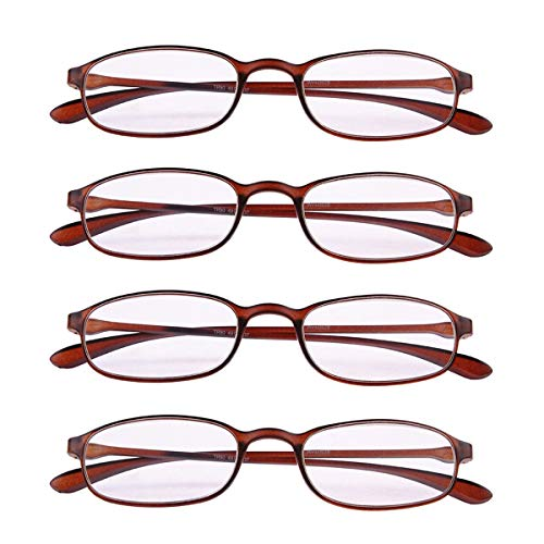 4 PRS Reading Glasses +2.50 Everyday Use Eyeglasses Lightweight Flexible Slim Spectacles Readers Brown Frame
