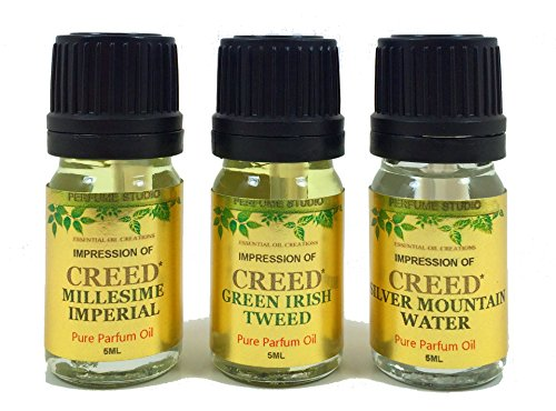 Perfume Studio oil IMPRESSION of Creed Perfume: 3 Piece Bundle of Silver Mountain Water, Millesime Imperial & Green Irish Tweed, 5ml Euro Dropper/Dabber Bottle (VERSION/TYPE OIL; Not Original Brand)