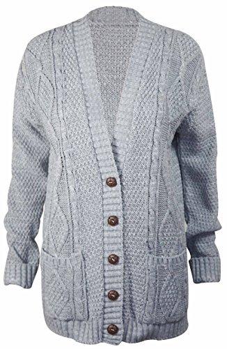 PurpleHanger Women's Long Sleeve Cable Knit Chunky Cardigan Light Grey 12