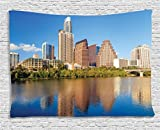 Ambesonne Apartment Decor Collection, View Of Austin, Texas Summertime Sunny Day Park Shores Waterscape View , Bedroom Living Room Dorm Wall Hanging Tapestry, 60W X 40L Inch