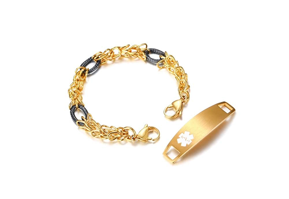 MPRAINBOW Personalized Custom Medical Alert EMT ID Tags Bracelet Important Disease Information Carrier Cuff Bracelet MPRAINBOW jewelry BR-637+CM-028G+KZ