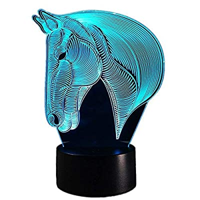 Panpen 3D Lamp Horse LED Illusion Animal Desk Table Night Light, Tiscen 7 Color Touch Lamp for Kids, Girls, Family Holiday Gift, Home Office Theme Decoration