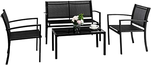 VINGLI 4 Pieces Patio Conversation Set Patio Furniture Set