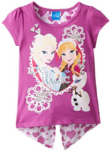 Disney Little Girls' Short Sleeve Frozen Tee, Purple, 5