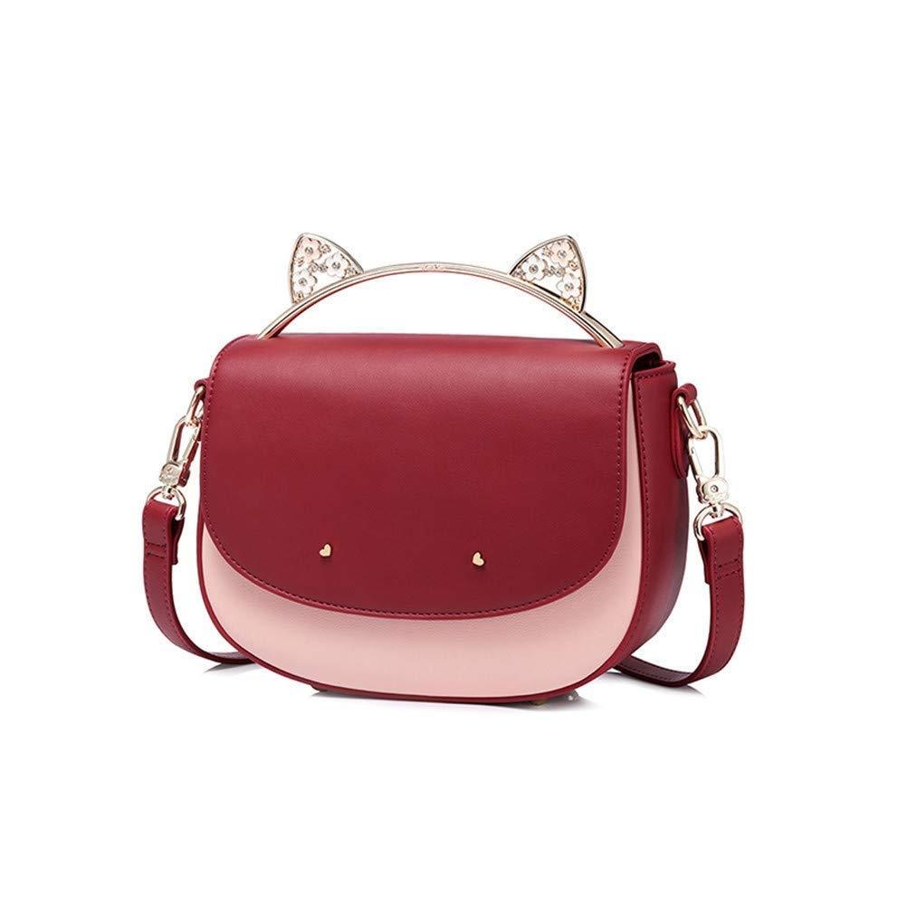 MLDBB バッグ女性の秋と冬のショルダーバッグかわいい猫の耳ハンドバッグサドルバッグ、 (色 : 赤)  赤 B07RLJRHC8