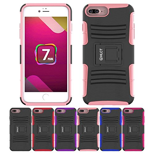 Price comparison product image iPhone 8/7 Plus Stand Case, HLCT Rugged Shock-Proof Dual-Layer Case with Built-in Kickstand (Pink)
