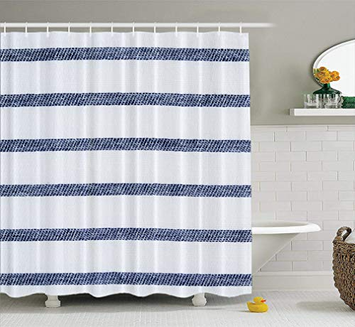 LILYMUA Fabric Shower Curtain Navy Blue and White Striped Cotton Fabric Twill Bathroom Shower Curtains for Bathroom Hotels Set of Hooks Mold Proof Water 72X72 Inches (White Curtains Navy Striped Blue)