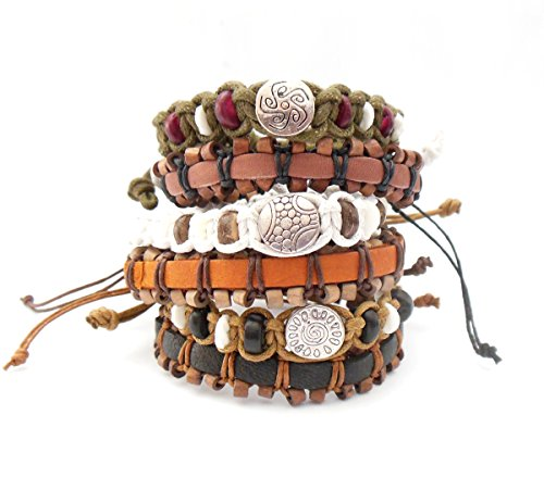 Set of 6 Leather and Cotton Cord Bracelets Boho Fashion Adjustable Size IN GIFT BOX