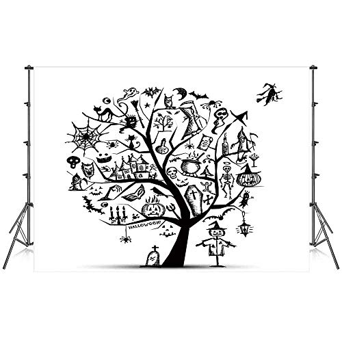 Halloween Decorations Stylish Backdrop,Sketchy Spooky Tree with Spooky Decor Objects and Wicked Witch Broom for Photography Festival Decoration,86''W x 59''H