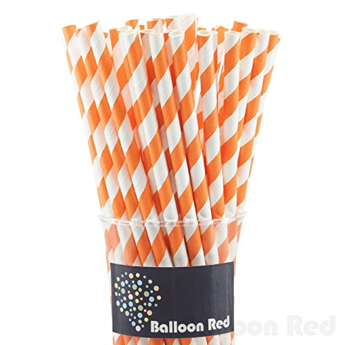 [Biodegradable Paper Drinking Straws (Premium Quality), Pack of 50, Striped - Orange] (Homemade Kids Costumes Easy)