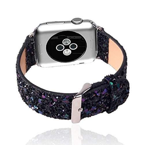 For iWatch Band Black ,42mm Watch Band 3D Bling Glitter Leather Bracelet Smart Watch Strap Wristband Replacement For Apple Watch Band Series1 & Series 2 (42mm Black)