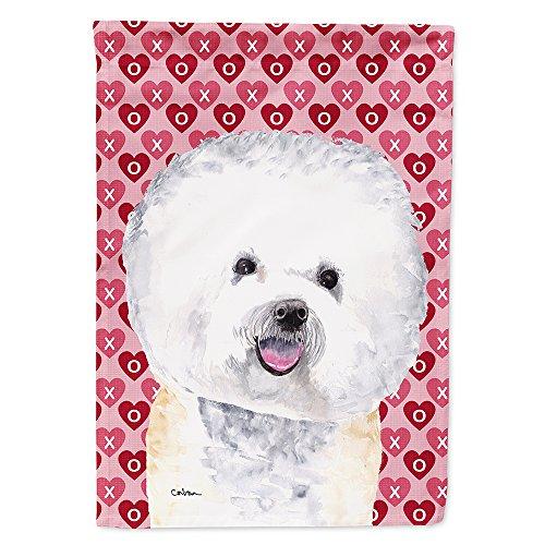 Caroline's Treasures SC9278GF Bichon Frise Hearts Love and Valentine's Day Portrait Flag, Small, Multicolor