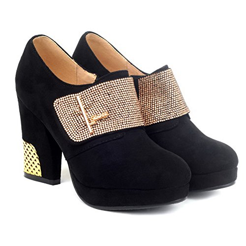 Zippers Solid Black Synthetic US M with Toe Round 5 AmoonyFashion Boots Womens Platform Closed B High and Heels w7ppRx