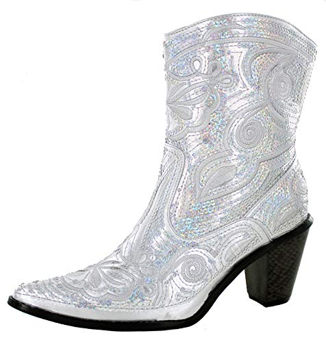 Helens Heart Women's Sparkle Sequin Bling Short Western Cowgirl Boots Silver Size 6]()