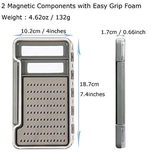 ing Box Magnetic Plastic Box Slit Foam Easy Grip Foam 2 / 6 /12 Magnetic Components Transparent Lid Fly Box (Slit Foam)