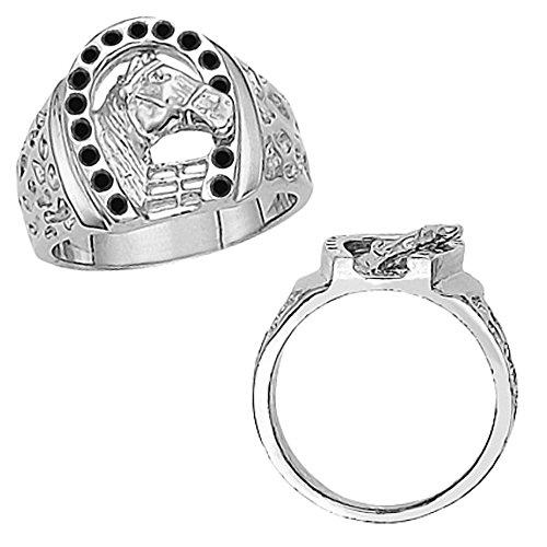0.30 Carat Black Diamond Fancy Horseshoe Horse Head Novelty Men's Man Designer Ring 14K White (0.30 Ct Marquise Diamond)