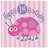 Ladybug 1st Birthday Beverage Napkins, 16ct