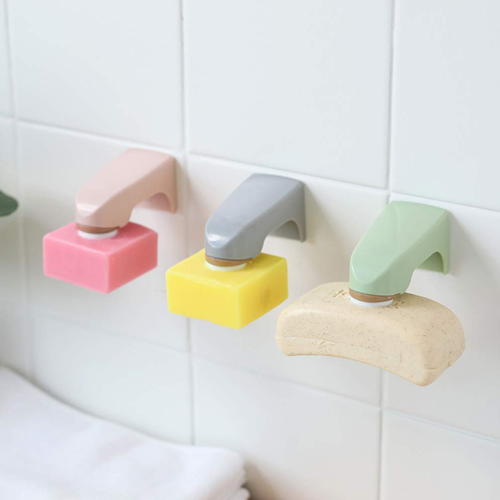 White Milisten 2Pcs Magnetic Soap Holder Wall Mounted Soap Box Hanging Soap Dish Soap Holder Container for Bathroom Shower Kitchen