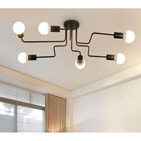 Lámpara de techo industrial, SUN RUN Lámpara de techo retro creativa de 6 luces Lámpara de techo vintage de metal semi-empotrado con acabado pintado ...
