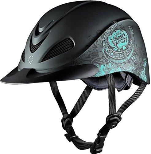 (Troxel Rebel Helmet, Turquoise Rose, Medium )