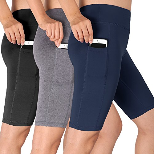 Cadmus Women's High Waist Athletic Running Workout Shorts with Pocket,3 Pack,06,Black,Grey,Navy Blue,XX-Large