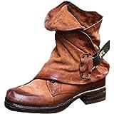 Minetom Stivali Donna Scarpe Autunno Inverno retrò Pelle Casual Ankle Boots Stivaletti Tacchi Bassi Zip Stivali da Moto da Moda