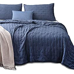 Kasentex Quilt-Coverlet-Bedspread-Blanket-Set + Two Shams, Ultra Soft, Machine Washable, Lightweight, All Season, Nostalgic Design - Hypoallergenic - Solid Color - Queen Size Set