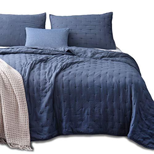 (KASENTEX Quilt-Coverlet-Bedspread-Blanket-Set + Two Shams, Ultra Soft, Machine Washable, Lightweight, All-Season, Nostalgic Design - Hypoallergenic - Solid Color (Queen + 2 Shams, Blue))