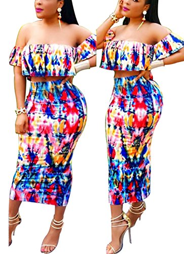 Bluewolfsea Womens 2 Pieces Floral Bodycon Dress Sexy Off Shoulder Ruffle Crop Top and Maxi Skirt Set Medium ()