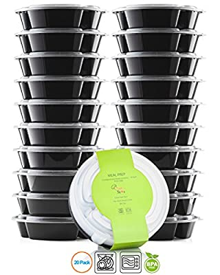 Chef's Star 3 Compartment Reusable Food Storage Containers with Lids - 26 oz - BPA Free - Microwave Safe - Dishwasher Safe - Stackable - 10 Per Pack - Set Of 2