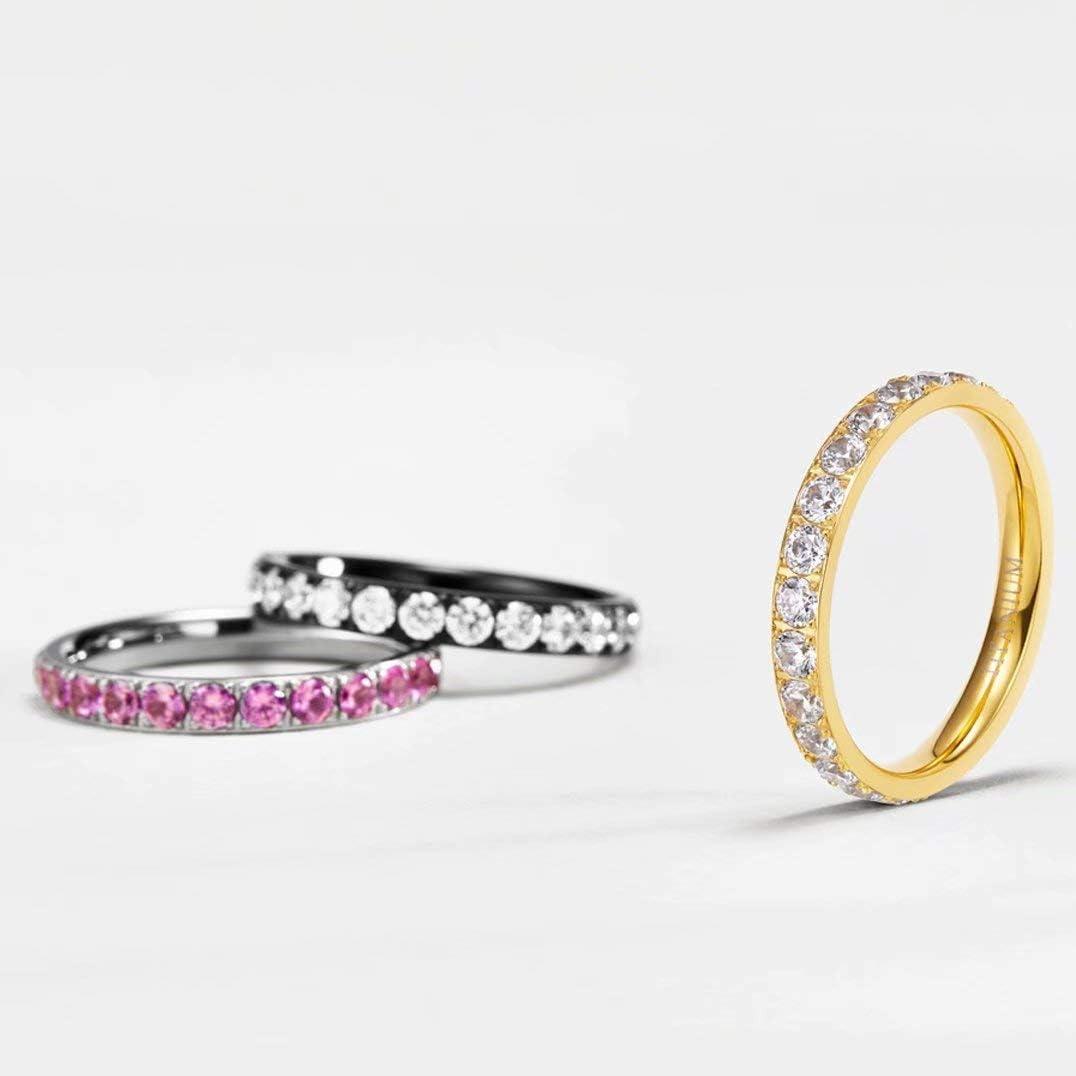 TIGRADE 3mm Women Titanium Engagement Ring Cubic Zirconia Eternity Wedding Band Size 3 to 13.5