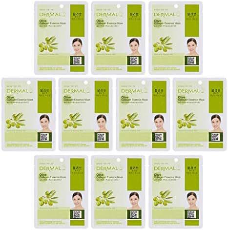 DERMAL Oilve Collagen Essence Full Face Facial Mask Sheet 23g Pak of 10