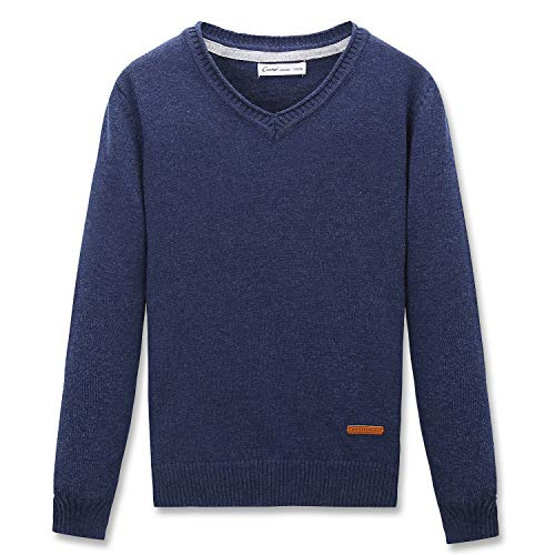 CUNYI Little Boys V-Neck Pullover Cotton Knit Sweater, Navy Blue, 120