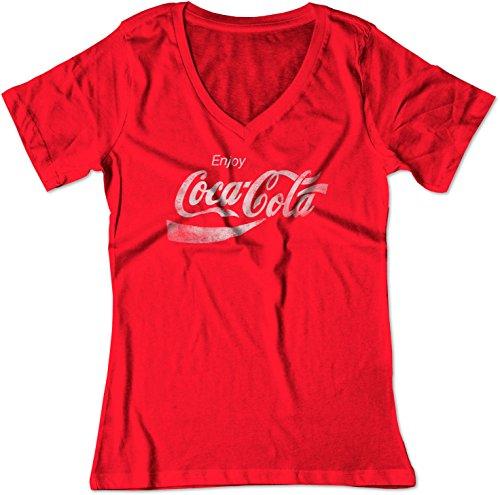 BSW Women's Enjoy Coca-Cola Coke Pop Soda Drink Vintage Logo V-Neck LRG Red ()
