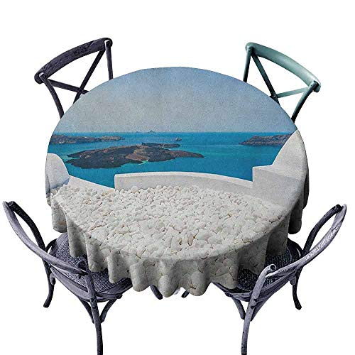 - ScottDecor Patio Round Tablecloth Outdoor Picnics Travel,Hotel with White Stones Santorini Island Greece Landscape with Sea Art, Turquoise and White Diameter 50