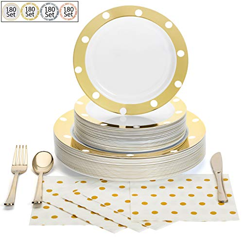 180 Pcs Serves 30, Gold Party Supplies Set | Reusable | No Flimsy Plates Or Weak Cutlery | Polka Dot Disposable Plastic…