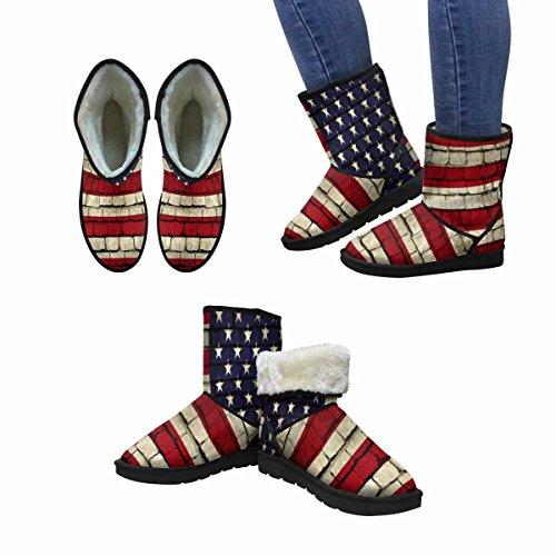 Stivali Da Neve Womens Interesse Bandiera Americana Sul Muro Unico Comfort Invernale Progettato Stivali Multi 1