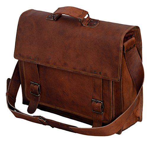 PL 18 Inch Vintage Handmade Leather Messenger Bag for Laptop Briefcase Satchel Bag 18in Brown Leather