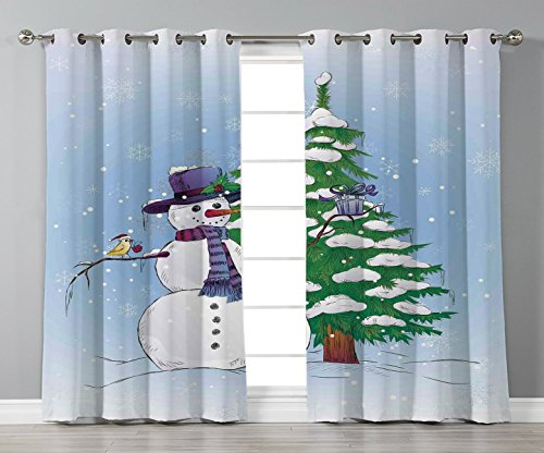 Satin Grommet Window Curtains,Christmas Decorations,Snowman in Winter with Mistletoe Gift Top Hat and Scarf Tree and Bird,Blue Green,2 Panel Set Window Drapes,for Living Room Bedroom Kitchen Cafe