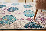 "Well Woven Sera Multi Blue & Pink Oversized Panel Design Short Pile Kilim-Style Modern 8×11 (7'10"" x 9'10"") Area Rug Vintage Oriental Multicolor Pattern"