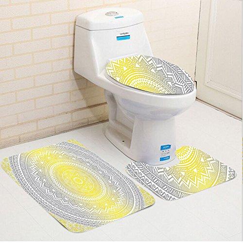Keshia Dwete three-piece toilet seat pad customGrey and Yellow Soft Pastel Color Ombre Ethnic Indian Mandala Circular Art Medallion Print Grey Yellow
