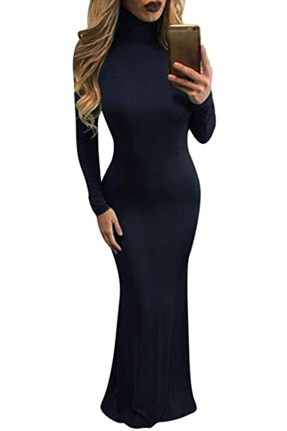 Meenew Womens Solid Long Sleeve Gown Elegant Turtleneck Bodycon Long Maxi Dress