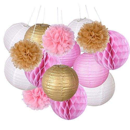 Paper Ball (Outus Paper Crafts Tissue Paper Lanterns Honeycomb Balls Paper Pom Poms for Wedding Party Decoration, 15)