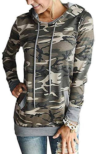 Womens Floral Pullover Hoodie Casual Long Sleeve Drawstring Hooded Sweatshirt with Pocket Camouflage
